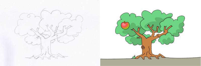 apple tree sketch and final image